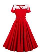 Sisjuly лето красное женщины dress женский белый матрос воротник твердые девушки летние платья a-line с коротким рукавом женщин пояса dress