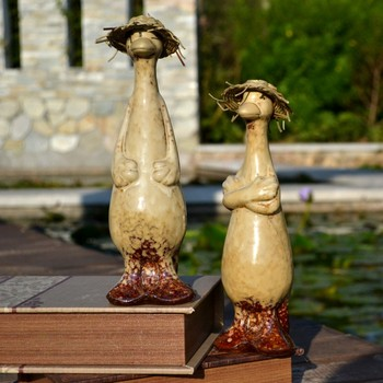 Pastoral Resin Duck Statue Ornaments Outdoor Courtyard Figurines Crafts Garden Park Sculpture Decoration Landscape Accessories