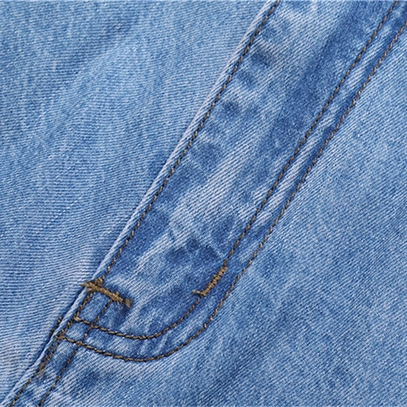 2018 Baru 100% Katun Musim Panas Tipis Keren Pria Jeans Baggy Biru - Pakaian Pria - Foto 4