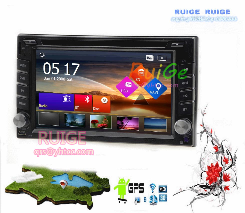 6.2 Android 5.1 Universal In-Dash GPS Car DVD Player+Wireless Camera+2 din Car Stereo Radio Head Unit PC TV Ipod USB/SD BT RDS