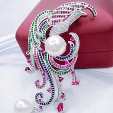 Luxury Bird Brooches For Women 2017 Fashion Colorful Crystal Stone Brooch Scarf Lapel Brooch Pins Animal Jewelry for Chirstmas