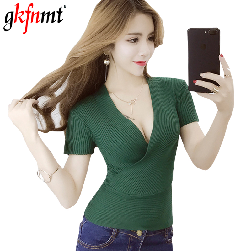 Sweater Sexy V-Neck Tops 2018 Summer Women Sweaters And Pullovers Korean Style Short Sleeve Femme High Elastic Knitted Shirt Red