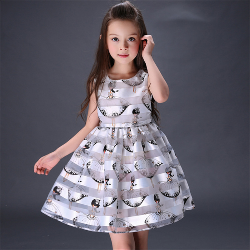 Hot Girls Dresses Summer  2016 Striped Cartoon Printed Princess Dresses For Teenagers Girls Kids Party Vestidos 5-14Y фильтр jbl cristalprofi e901 greenline эконом внешний фильтр для аквариумов от 90 до 300л