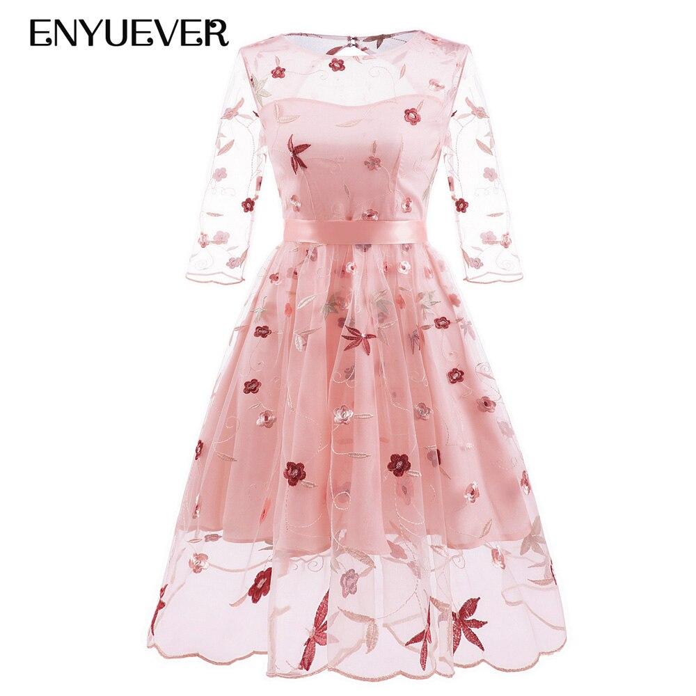 Enyuever Elegant Women Dress Embroidery Mesh Lace Tunic 3/4 Sleeve Vestido Jurk Pink Wedding Party Short Formal Dress Ball Gowns