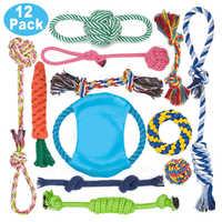 12Pcs Große Hund Spielzeug Sets Kauen Seil Spielzeug für Hund Kauen Spielzeug für Hund Im Freien Zähne Sauber Spielzeug für große Hunde Juguete para Perros
