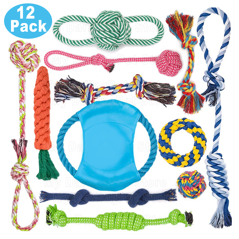 12Pcs Large Dog Toy Sets Chew Rope Toys for Dog Chewing Toys for Dog Outdoor Teeth Clean Toy for Big Dogs Juguete para Perros