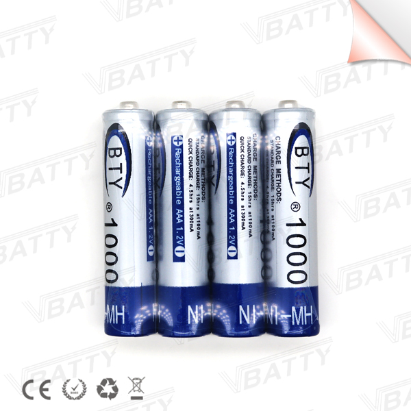 4 pcs/lot BTY MI-MH 1.2V Li-ion battery 1000mah Mi-MH battery rechargeable AAA rechargeable battery ...