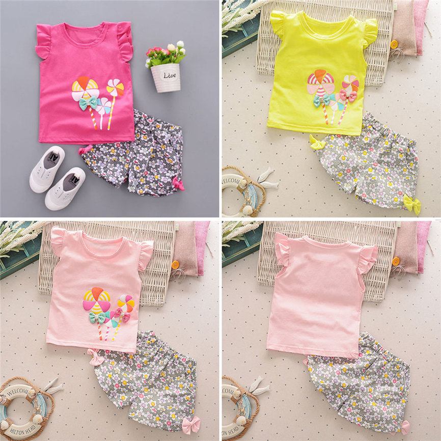 2018 Infant Cute Princess Clothes Set Toddler Kids Baby Girl Lolly T Shirt Tops+Floral Shorts Pants Outfit Dropshipping 0124