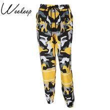 e7a4d0fd36 Weekeep moda alta cintura mujeres Camo pantalones sueltos Streetwear  camuflaje Pantalon Femme lápiz pantalones Hip Hop Pantalone.