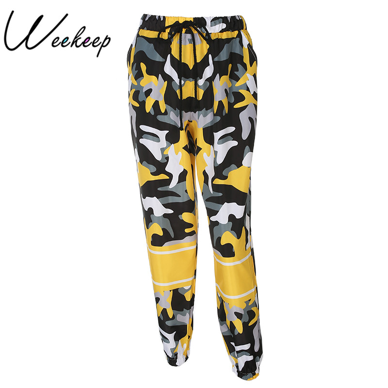 Weekeep Modo di Alta Vita delle Donne Camo Pantaloni Allentato Streetwear Camouflage Pantalon Femme Matita Pantaloni Hip Hop Pantaloni pantaloni