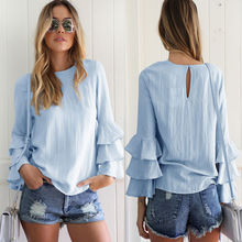 Casual Blouse Loose Summer Shirts Tops New Fashion Women Lady Clothes Long Sleeve Shirt