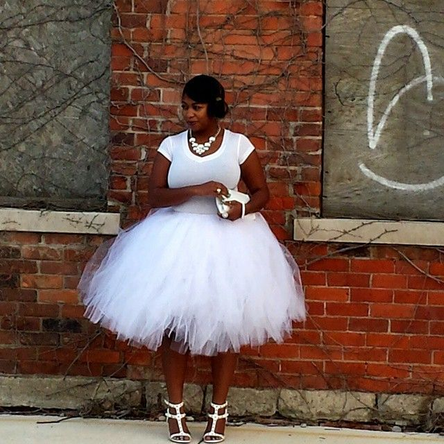 1af88e11195 Fashion Ball Gown Skirt White Puffy Multi-Layered Tulle Skirt Midi Skirt