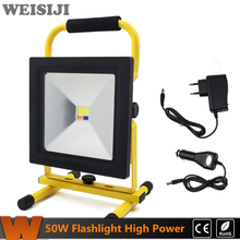 WEISIJI 50W Portable Flood Light Rechargeable LED Flashlight Emergency Outdoor Spotlight Camping Work Light with DC Car Charger