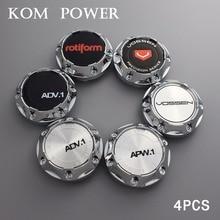 KOM 64mm wheel center cap / 56mm clip universal hubcap for vossen logo emblem rotiform rims auto dust-proof hood enjoliveur roue