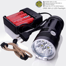 Free Shipping 6000LM 4xCree XM-L T6 3-Mode LED Flashlight Torch Lamp 4T6 LED Camping Lights +4pcs Rechargeable battery +charger