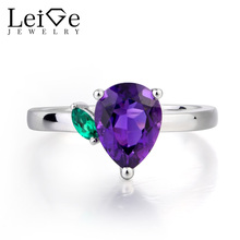 Leige Jewelry Natural Amethyst Ring Promise Ring February Birthstone Pear Cut Purple Gemstone 925 Sterling Silver Gifts for Her