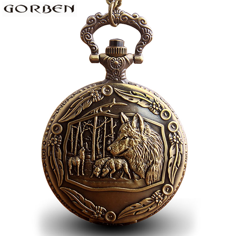Vintage Cool Chinese Zodiac Dog Wolf Head Pocket Watch With Chain Antique Bronze Black Pendants Clock Style Gift To Women Men
