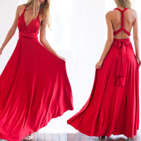 Free Shipping Summer Sexy Women Maxi Dress Red Bandage Long Dress Sexy Multiway Bridesmaids Convertible Dress