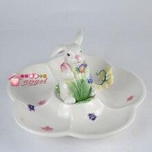 white ceramic rabbit dried fruit Candy Storage dish Dessert Snack Salad plate home decor wedding decoration handicraft figurine