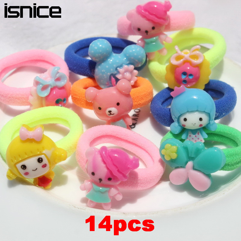 14 Pcs Kids Hair accessories Animal Elastic Hair tie Cartoon headband Candy Color Gum for Hair band Headwear new arrival 2019