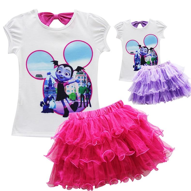 Kids Girl Vampirina Skirt Dress Pajamas Sleepwear Top T Shirt Nightdress 2019