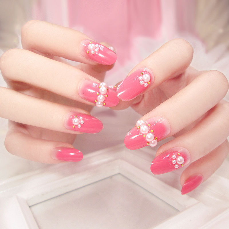 24 Pcs Fashion Long Full Cover lovely pink False Nails with Pearl ...