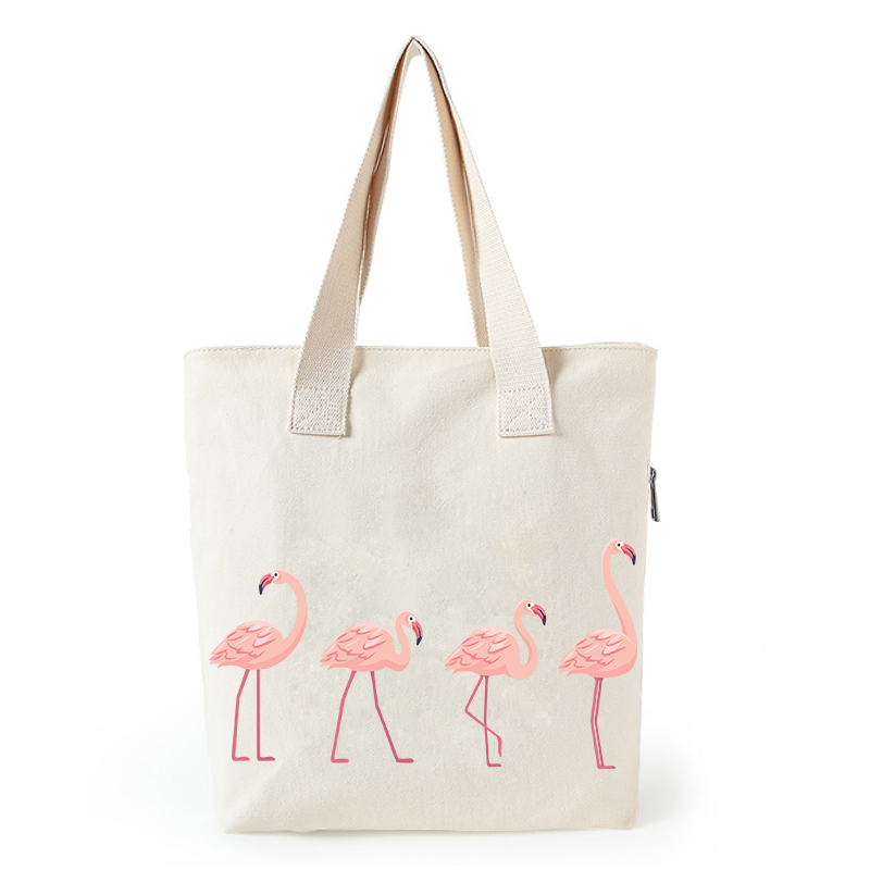 Flamingo print canvas tote bag customized eco bags custom made shopping bags with logo  Dachshund Shepherd Dog Poodle (7)