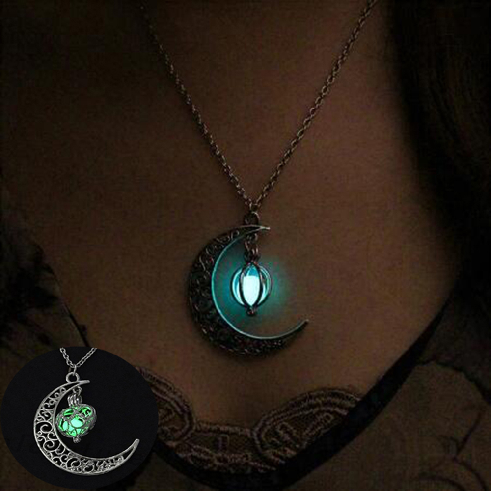 TOMTOSH moon glowing necklace, green stone charm jewelry, silver plated, Halloween gift