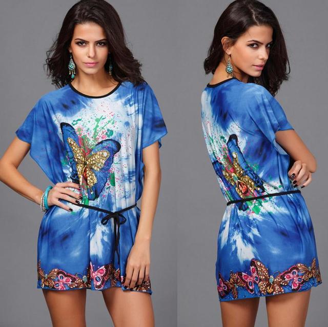 Hot! Summer bat short-sleeved dress round neck print dress printed dress bohemian beach Plus belt