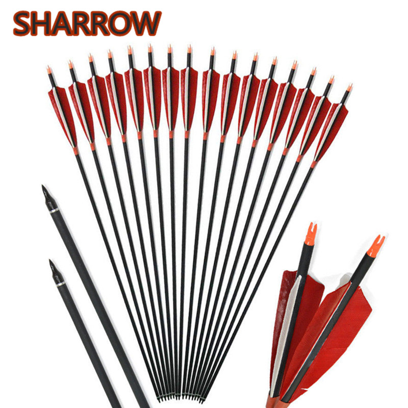 12Pcs 30 SP500 Carbon Arrows 5 Turkey Feather Fletching ID6.2mm Archery Carbon Arrow Outdoor Sports Shooting Accessories12Pcs 30 SP500 Carbon Arrows 5 Turkey Feather Fletching ID6.2mm Archery Carbon Arrow Outdoor Sports Shooting Accessories
