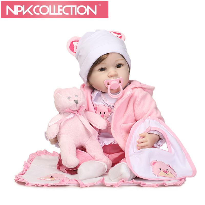 55cm Silicone Reborn Baby Doll Toys With Bear Pacifier Luxury Accessories Princess Dolls Lovely Gift Girls Brinquedos N236