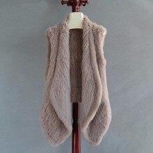FXFURS женский жилет из натурального меха вязаный жилет из кроличьего меха меховые куртки ручной работы Модный меховой кардиган женский