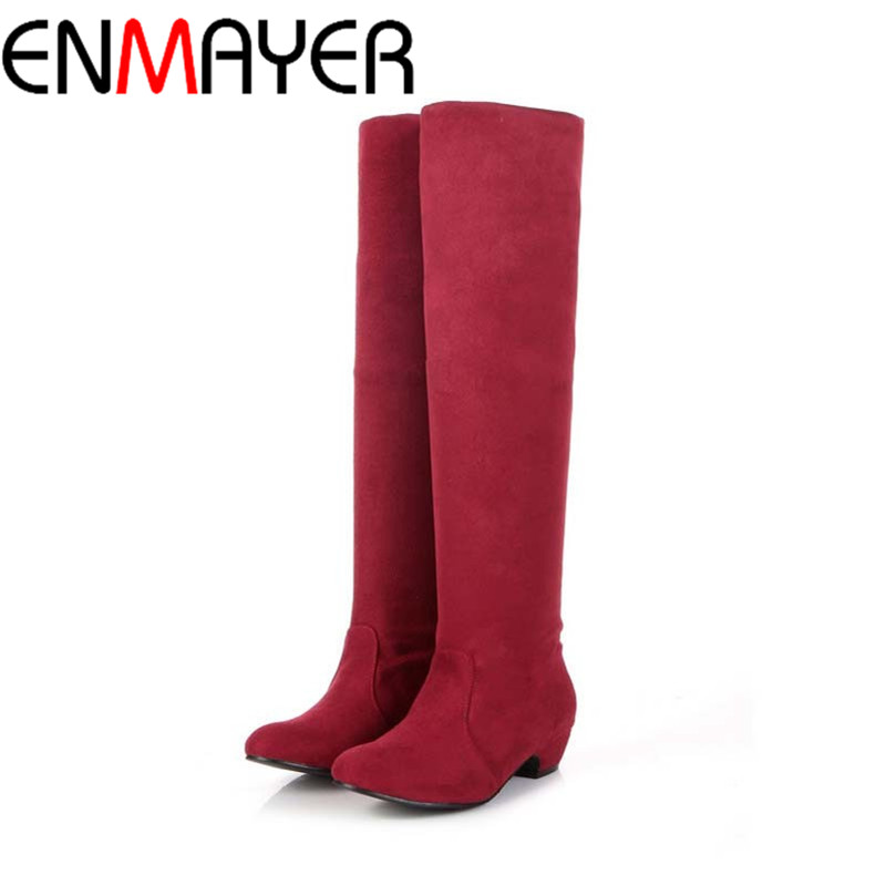 ENMAYER New Women Boots for Shoes Round Toe Fashion Platform Winter Snow Boots Falts Motorcycle Knight Knee High Boots Sale enmayer high heels charms shoes woman classic black shoes round toe platform zippers knee high boots for women motorcycle boots