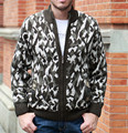 Thick Fleece Cardigan For man coats 2016 Winter New Leopard men casual  sweater Keep Warm stand collar Camouflage Knitwear M-XXL