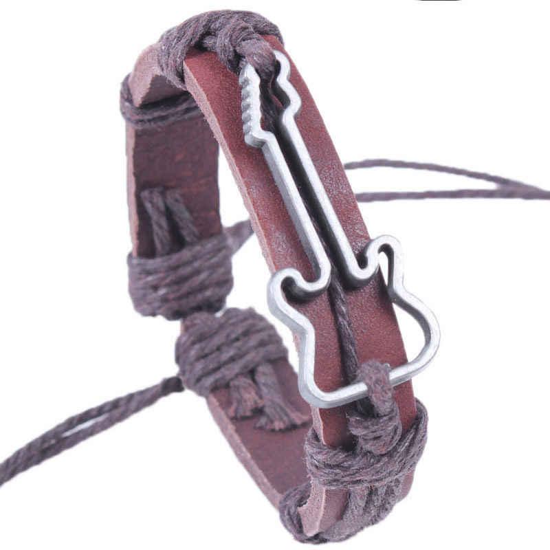 Baru Vintage Buatan Tangan Kulit Asli Gelang Hollow Gitar Pesona Gelang untuk Pria Bungkus Gelang Fashion Perhiasan