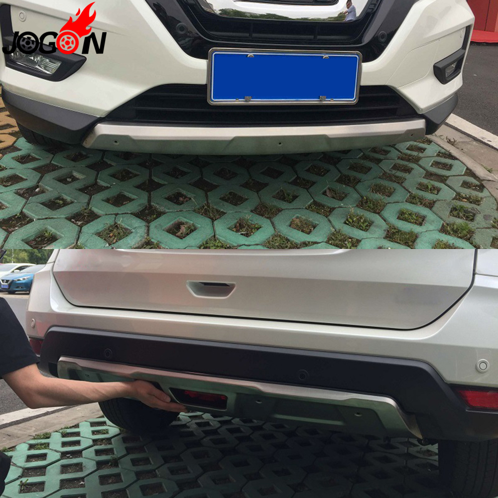 For Nissan X-Trail Rogue T32 Facelift 2017 Car Front + Rear Bumper Guard Skid Plate Protector Cover Stainless Steel 2PCS for hyundai new tucson 2015 2016 2017 stainless steel skid plate bumper protector bull bar 1 or 2pcs set quality supplier