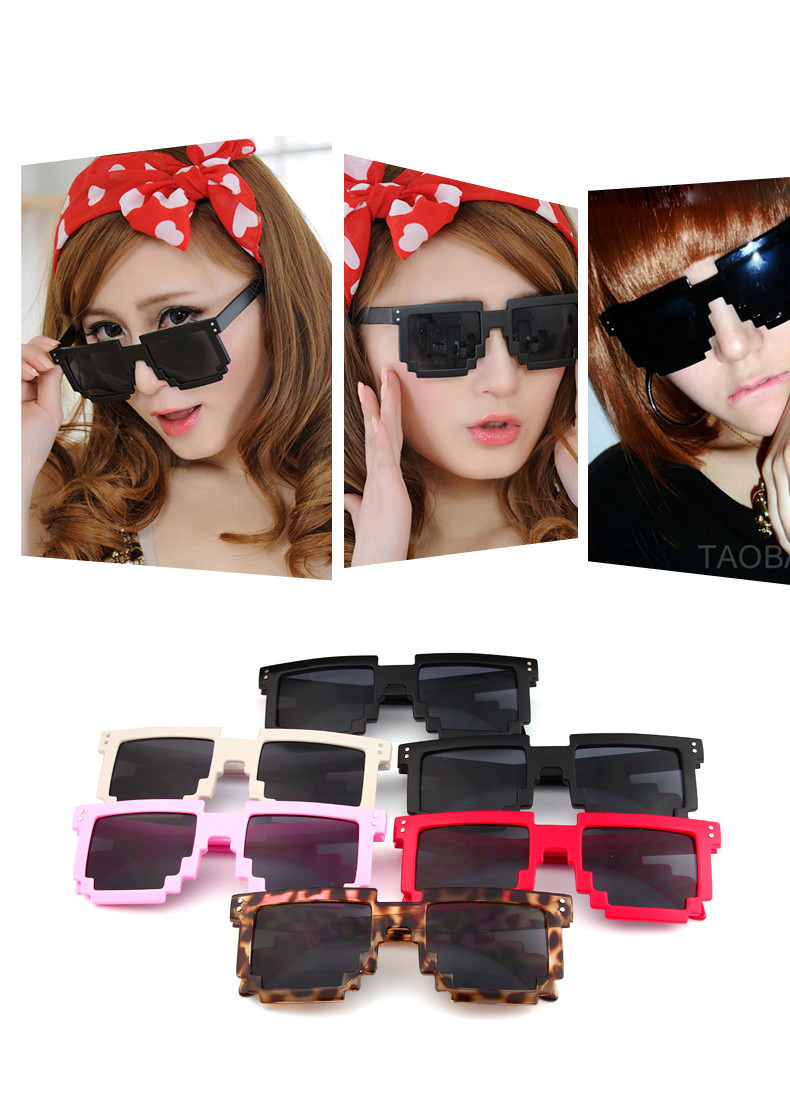 Hot sale Retro Trendy Novelty Unisex sunglasses Pixelated Minecraft Style Square Sun glasses 7 Colors Free