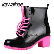 5CM High Heels Rubber Shoes Female Waterproof Rain oots Women Boots Kawaihae Brand Knight Riding Boots 408