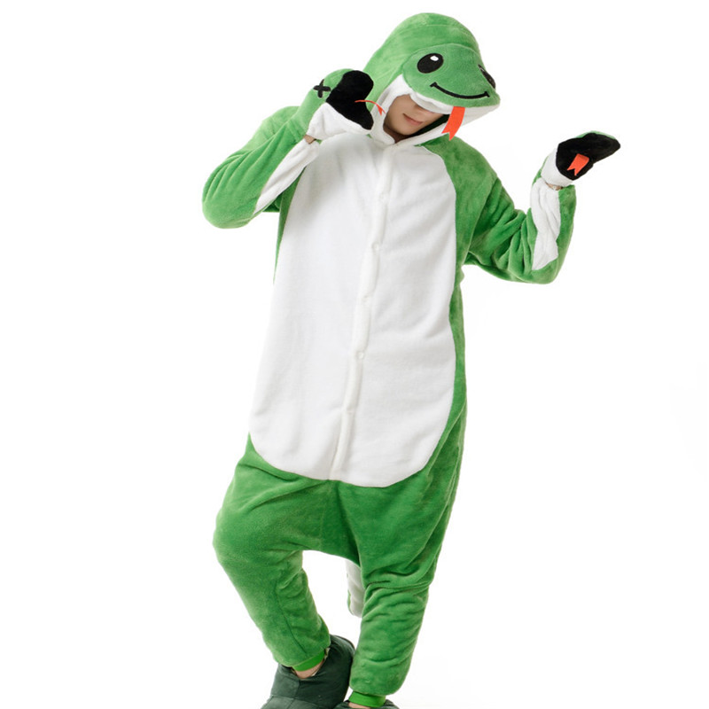 Green Snake Costume (no sliper included) for Adult Cartoon Animal Cosplay Onesies Pajamas Jumpsuit  Hoodies for Halloween