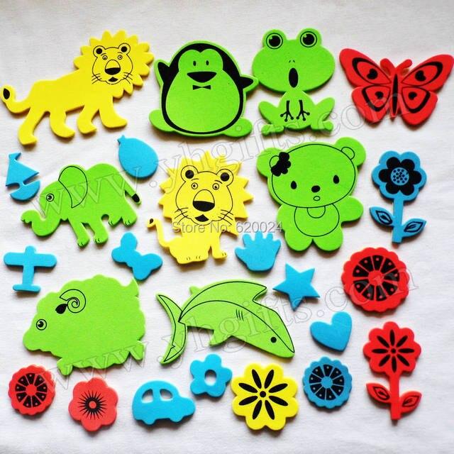 Foam Stickers Kinderkamer.50 Stks Lot Foam Dier Bloem Vlinder Voertuig Stickers