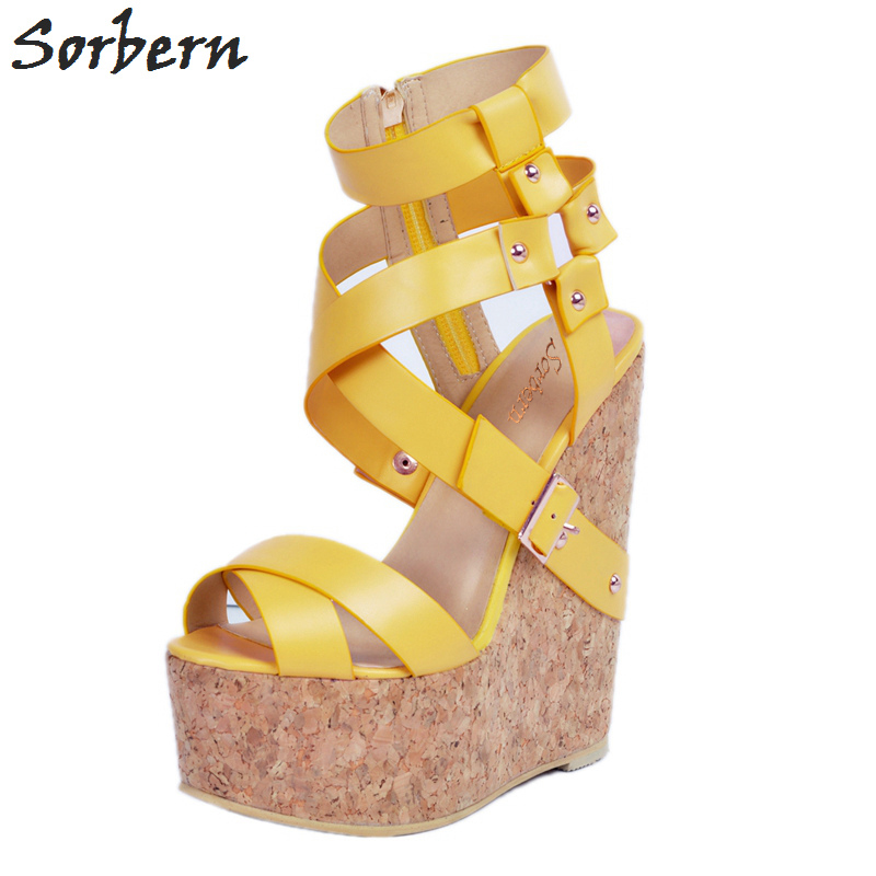 Sorbern Luxury Wedges Shoes For Women Ladies Sandals Plus Size Zipper Yellow PU Designer Shoes Women