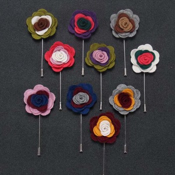Handmade Guest Boutonniere Pins Cloth colorful Rose Artificial Flowers Groomsman Best Men Women Brooch Corsage Wedding Flower