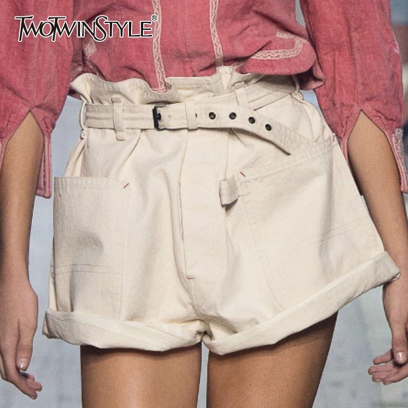 TWOTWINSTYLE Summer White Shorts For Women Casual High Waist Lace up Shorts Female Fashion Korean Clothes 2019