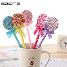 EZONE 6 PCS/Set Candy Color Novelty Plastic Kawaii Pens Shape Ball Point Lollipop Ballpoint Pen CuteSchool Supplies Stationery