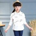 Kindstraum 2017 meninas impressão creme camisas crianças primavera roupas de algodão causal bottons blusas plena manga para crianças, rc1210