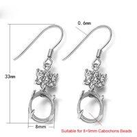 925 Sterling Silver Zircon Stone Hook Earring Jewelry Findings Gemstone Cabochon Base Tray Setting Components SEA