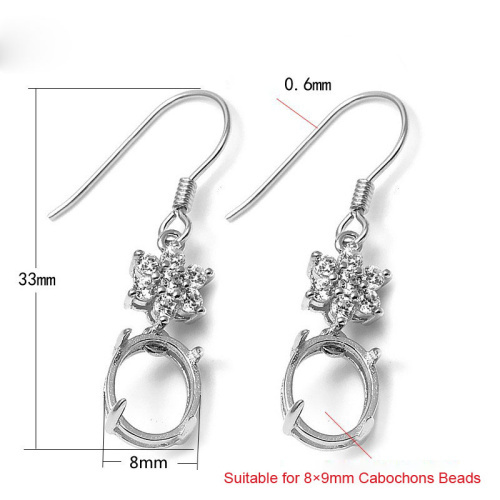 925 Sterling Silver Zircon Stone Hook Earring Jewelry Findings Gemstone Cabochon Base Tray Setting Components SEA-ES009