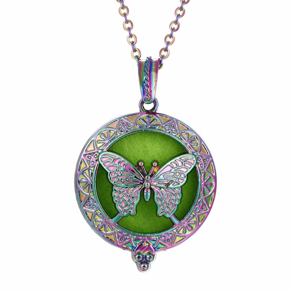 1PC Rainbow Color Butterfly Magnetic Closure Aroma Diffuser Necklace Essential Oil Diffuser Open Locket Bohemian Necklace