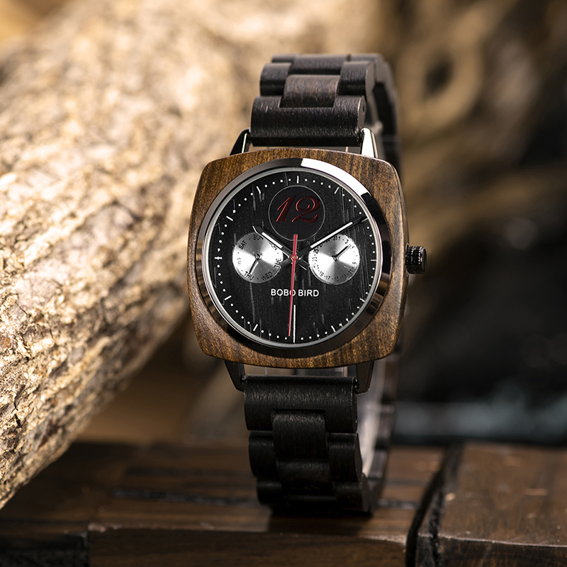 New Design! Luxury & Classic Wood Watch For Men W/Date Display & Gift Wood Box 9