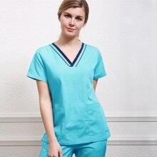 Женский топ с v-образным вырезом, рубашка с короткими рукавами, дизайн color Blocking, костюм Доктора, медицинская форма(только топ